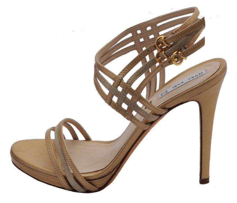 Jorgia gold nappa open toe fine strappy metallic stiletto.