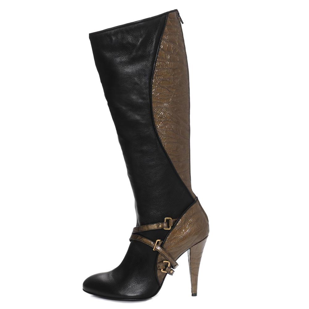 Lania Black Olive. Nappa and Croc leather contrasting knee high boot. Incredibly subtle, incredibly chic, incredibly designer.