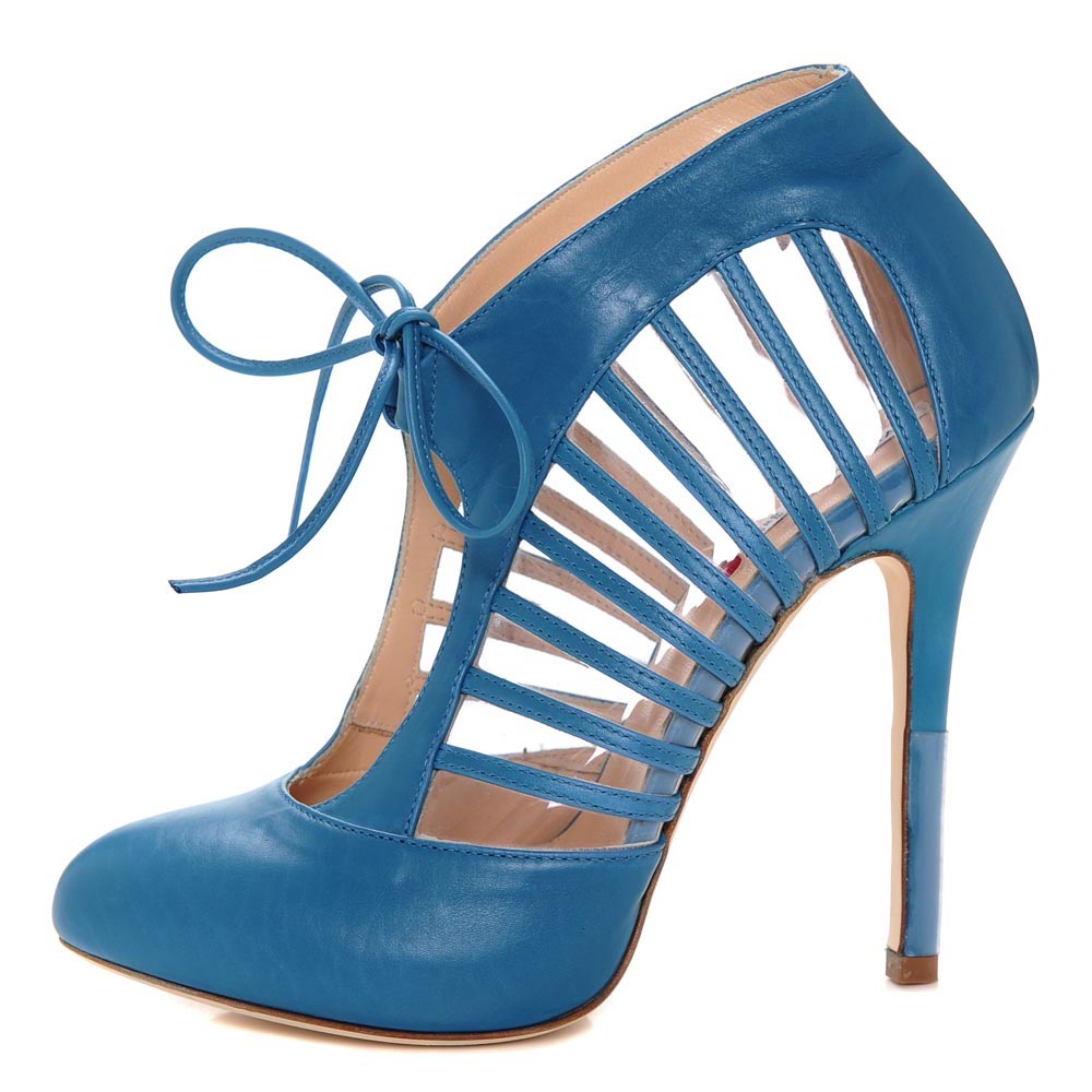 Petra Blue. Leather strap Detailed Pump with Centre Front Tie.  Bold, Fashionable and Dynamic.