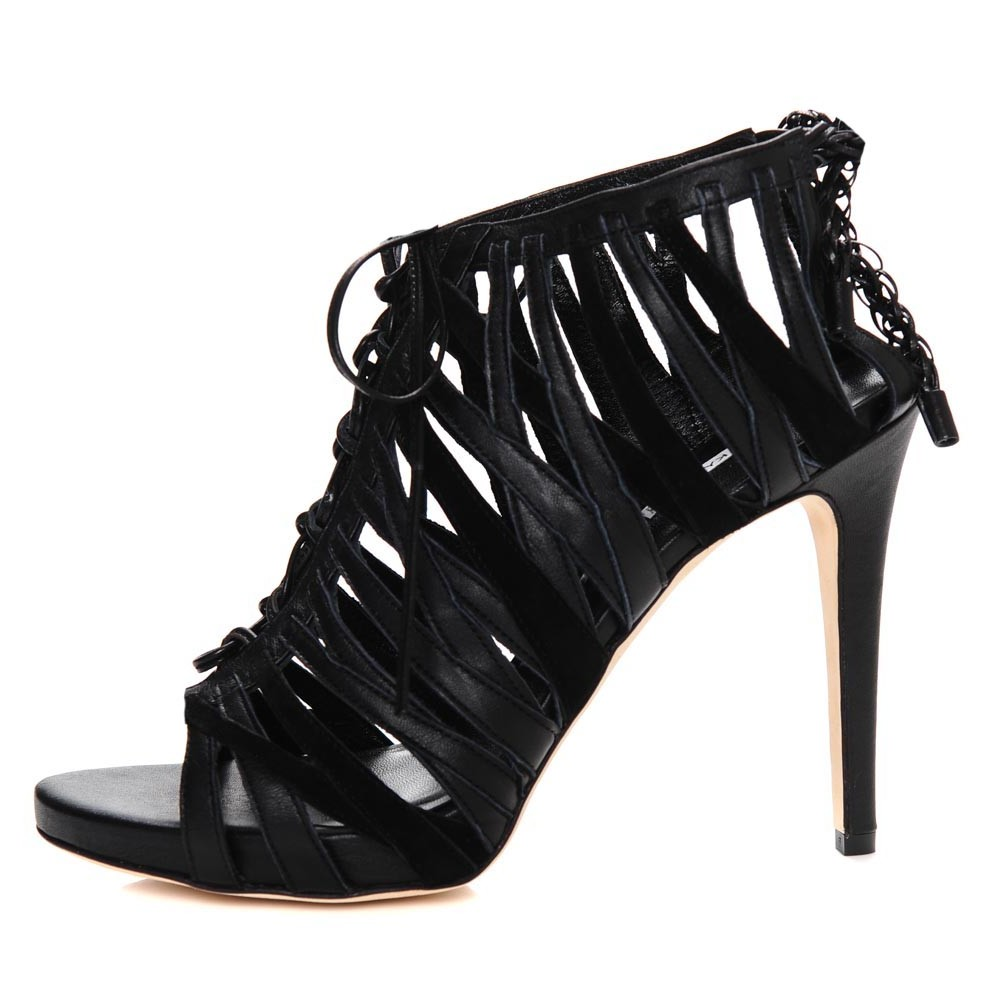 Shallai Nappa Leather Stiletto with Loop and Strap Detailing