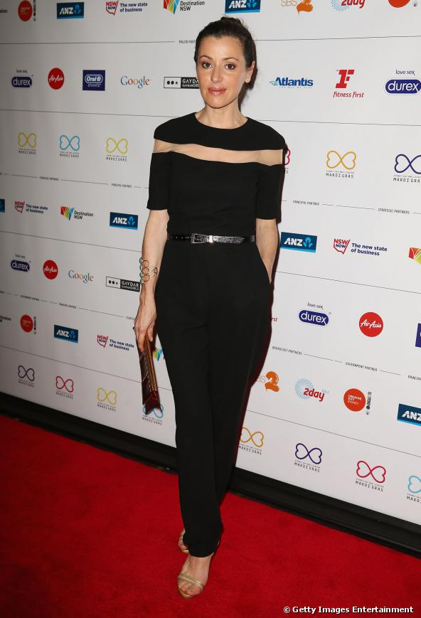 Tina Arena wears Mary-Kyri 'Jorgia' heels. Mardi Gras 2014 launch Sydney Australia.