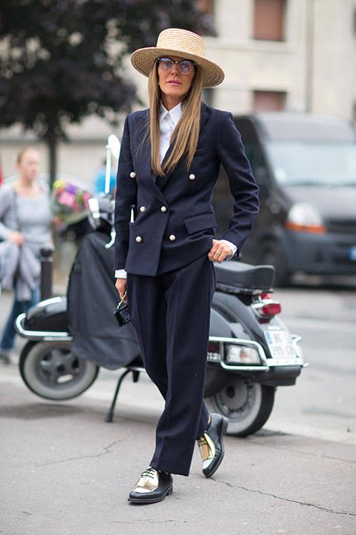 Anna Dello Russo. Navy Pant suit. Diego Zuko