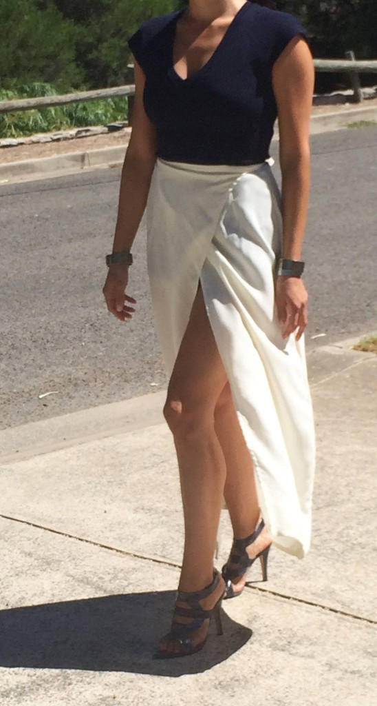 Tahina Mary-Kyri Shoes coupled with Saba ponte top and Pierucci silk split skirt. Contrasting silver cuffs combine with the metallic silver in the Tahina shoes.