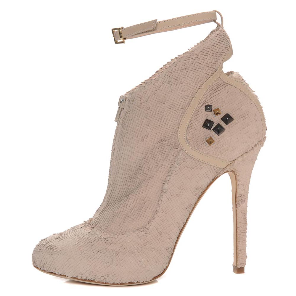 Diaz: Nappa Leather snake Print Bootie.