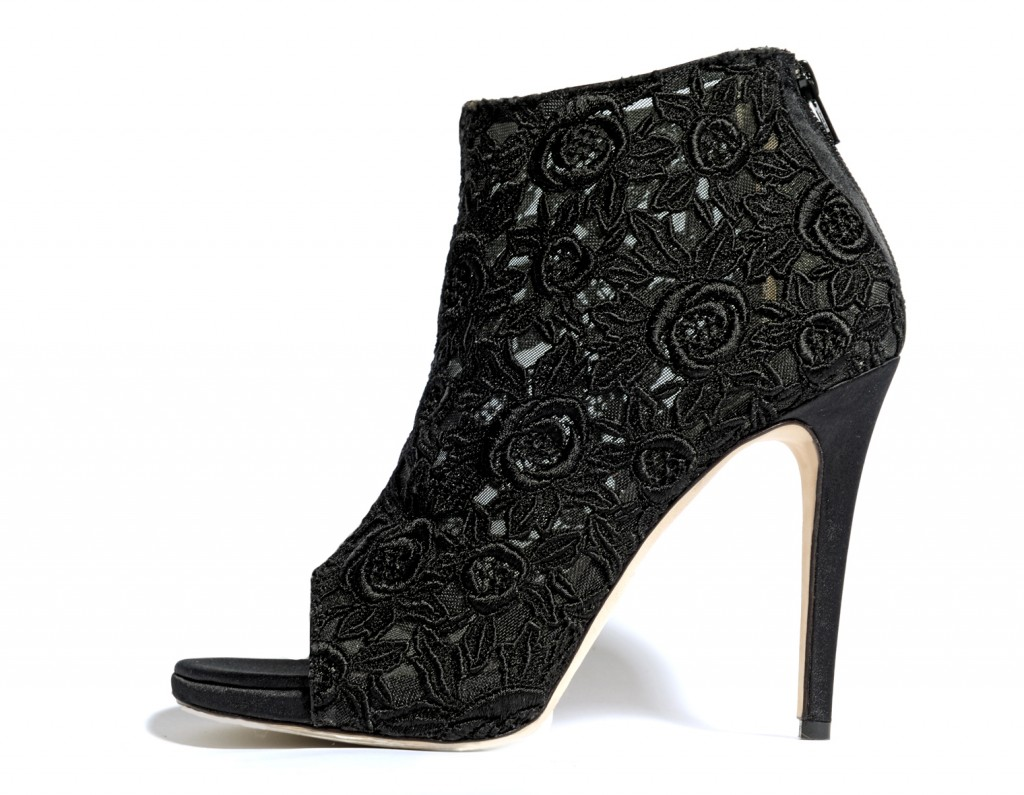 Sarafina Black. French Guipure lace Open Toe Trans-seasonal Bootie.