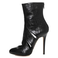Sass Croc Leather Bootie with Cutouts