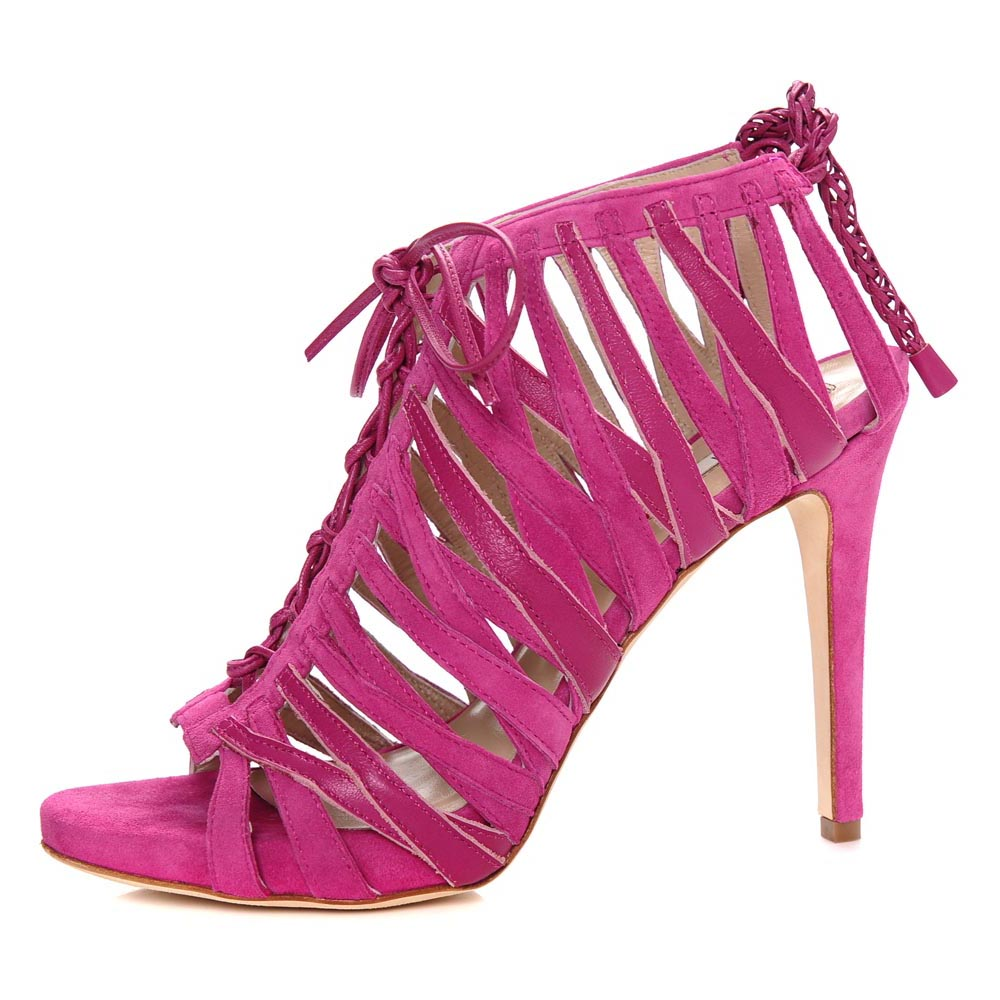 Shallai Fuxia Pink. Nappa Leather Strap Open Toe Stiletto Sandal.Trendsetting Flamboyant Diva.