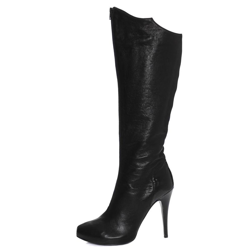 Valeri Black. Nappa leather knee boot with centre front zip and contrast metallic heel. Incredibly versatile yet an edge of subtle personality.