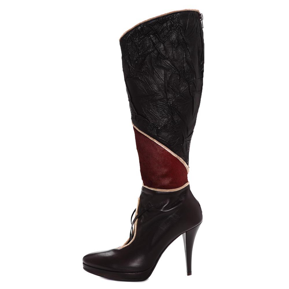 Xarve. Plisse nappa leather knee high boot with contrasting fur cutaway boot. Versatile trendsetting fashionista all the way with Xarve.