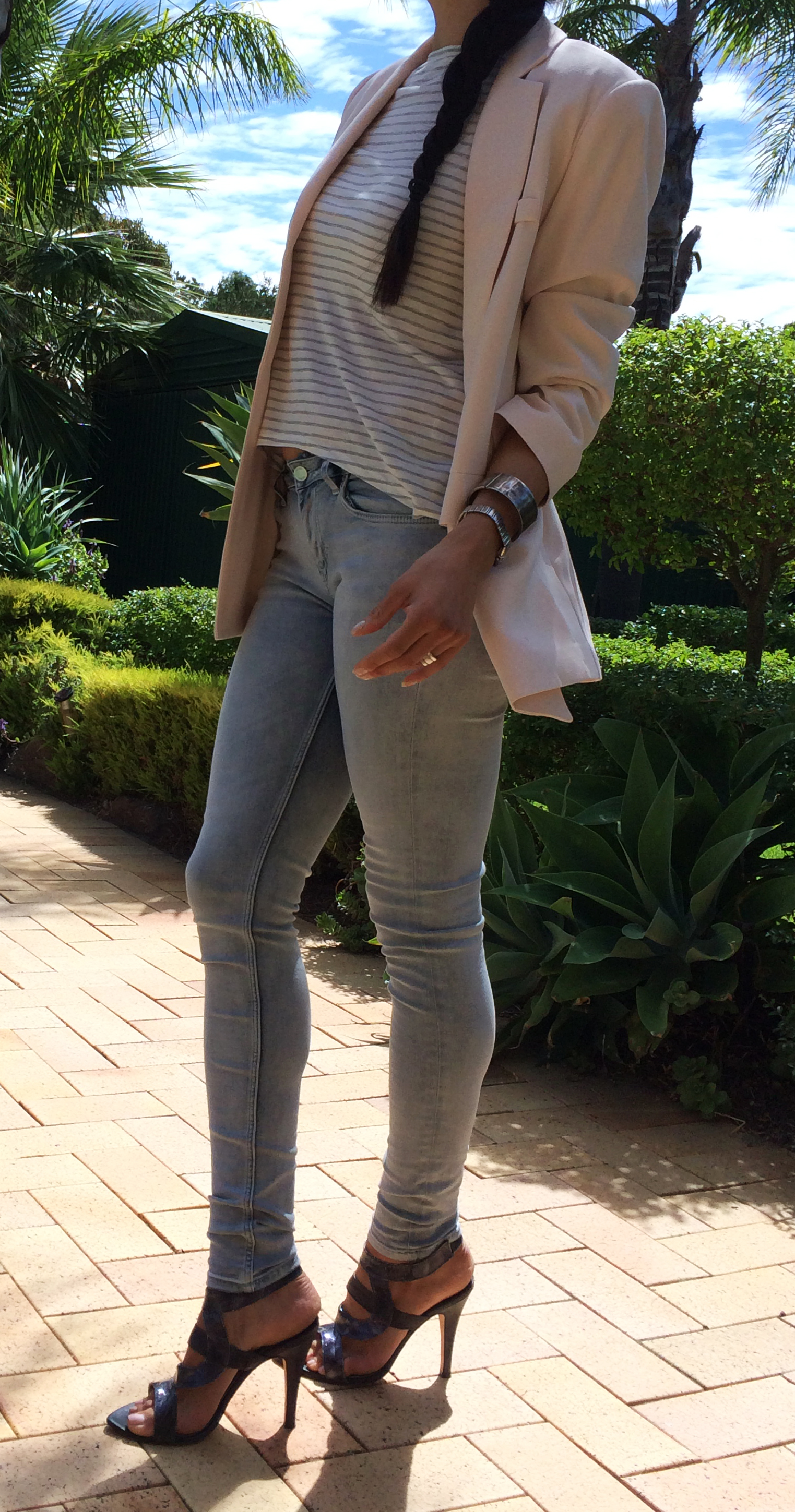 Tahina Mary-Kyri Shoes worn with Saba striped cowl back top, Alexander mc Queen jeans and  apricot blazer. Contrasting silver cuffs combine with the metallic silver in the Tahina shoes.