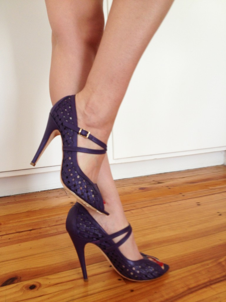 Elisav. Nappa Open Weave Peep Toe Pump. Mary-Kyri Signature Design.
