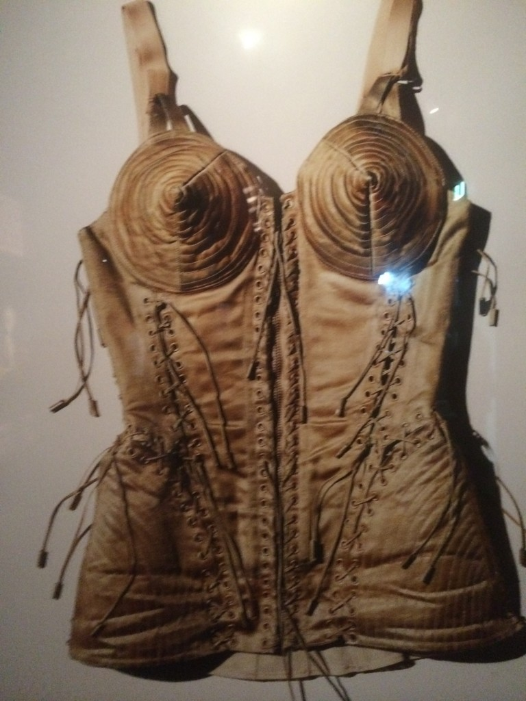 Embroidered Cone Bra Rouleaux and Ties Corset